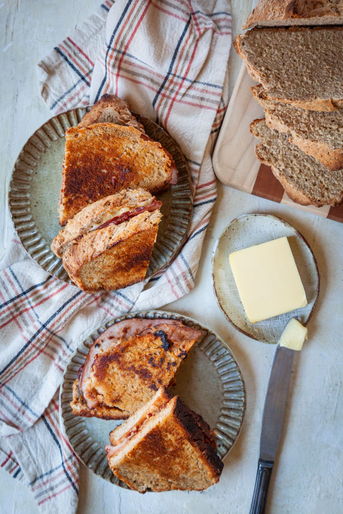 Ham and Cheese Toasties made with Irish Soda Bread and Irish Country Ketchup on plates