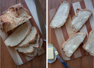 Slice the soda bread and then butter each slice.