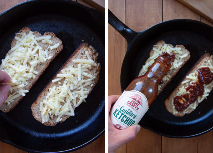 Place 2 slices of bread, butter side down, on pan and sprinkle cheese and ketchup over it.