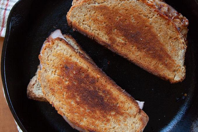 Cook until bread is golden brown.