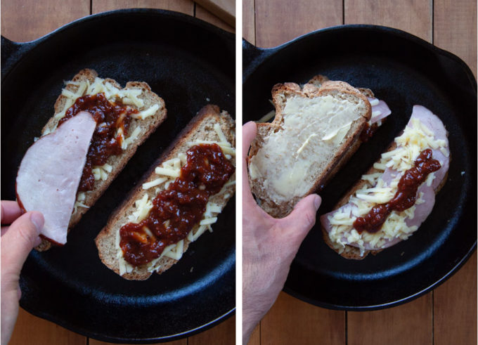 Place ham over the cheese and ketchup, then sprinkle more cheese and ketchup over the ham and top with buttered bread.
