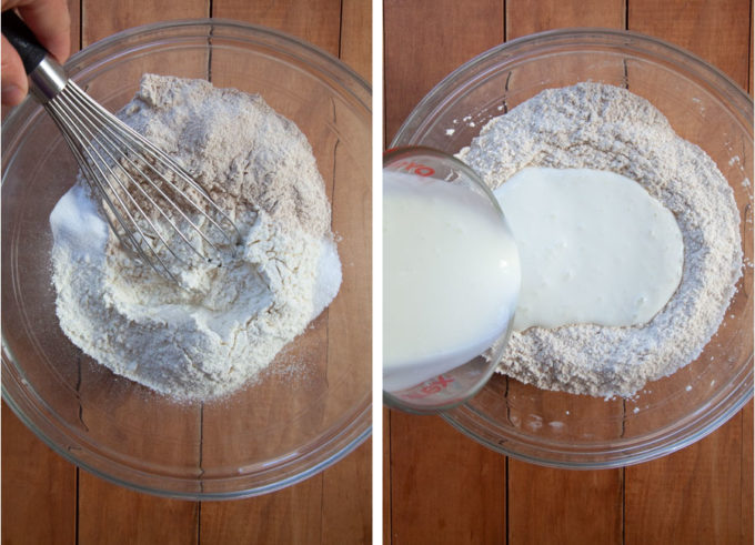 Whisk dry ingredients together, then add buttermilk