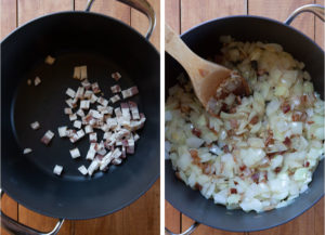 cook bacon, then add onions and garlic to the pot.