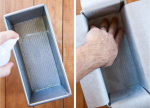Spray cooking oil and line a loaf pan with parchment paper.