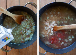 Add broth to the pot, then add one can of beans and one can of diced tomatoes.