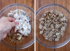 Make the crumb topping with your fingers.