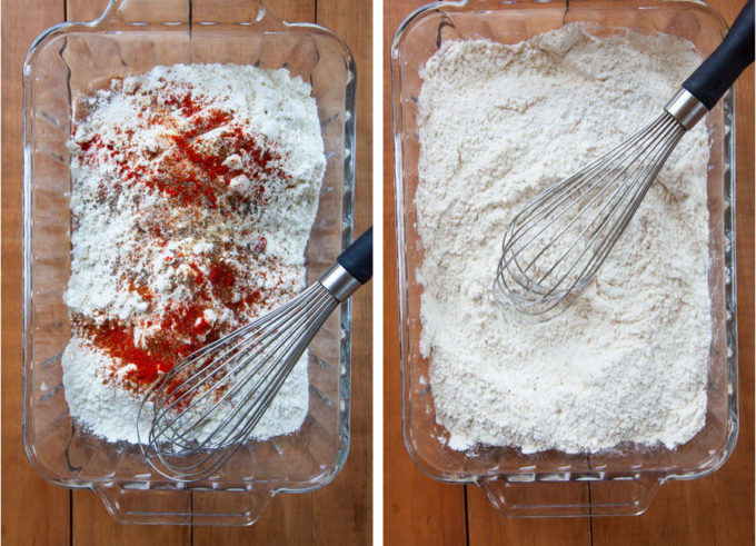 Whisk the flour and dry ingredients together in a large shallow bowl or baking dish.