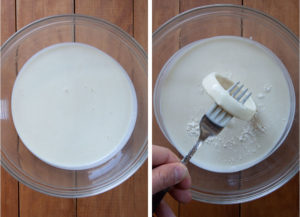 Dip the onion ring into the sourdough starter discard.