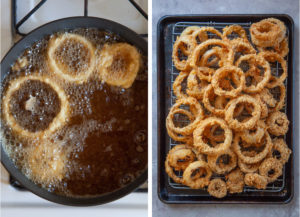 Fry the coated rings in hot oil, then let drain on a wire rack placed on a rimmed baking sheet.