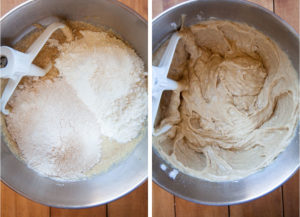 Add the flours and mix together.