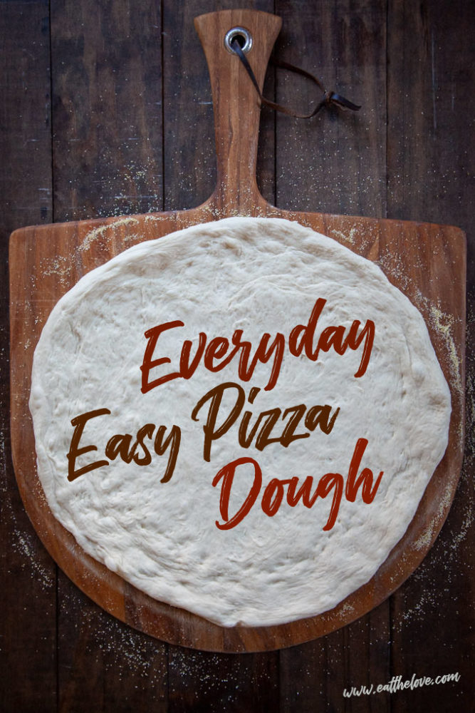 Easy pizza dough that is ready in a little over an hour on a pizza peel.