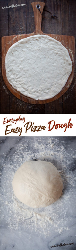 This easy pizza dough recipe uses pantry ingredients and is ready in just over an hour. #pizza #pizzadough #easy #quick #fast #recipe #yeast #pizzarecipe #homemade #fromscratch