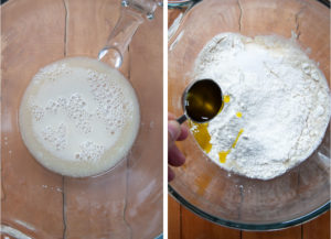 Left image is yeast foaming on the liquid, showing it has proofed. Right image is olive oil being poured into the bowl with the flour and yeasty water.