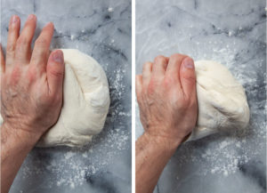knead the dough by hand for 5 to 6 minutes until smooth and elastic.