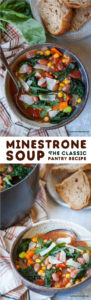 Minestrone Soup is the classic pantry recipe, using basic ingredients found in your fridge and kitchen pantry! Check out this easy to follow recipe, complete with notes on how to substitute and take your soup to the next level if you want! #soup #pantrycooking #minestrone #beans #legumes #pulses #frozenvegetables #vegetables #veggie #easy #fast #quick