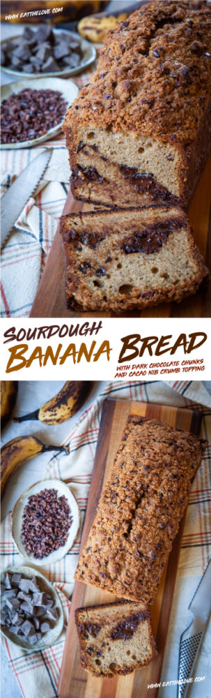 This easy to make sourdough banana bread with chocolate chunks and a cacao nib crumb topping uses the sourdough discard from a starter, creating a moist and complex flavored quick bread that is a step above the standard banana bread. #bananabread #sourdough #starter #discard #chocolate #cacaonib #quickbread #banana