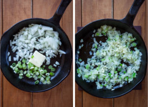 Cook onions and white part of green onions in a pan, then add garlic and cook a little more.