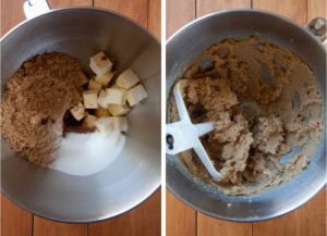 Cream the butter, sugars, vanilla, baking soda, salt, and nutmeg together until a paste forms.