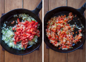 Add chopped tomatoes and cook a little more.