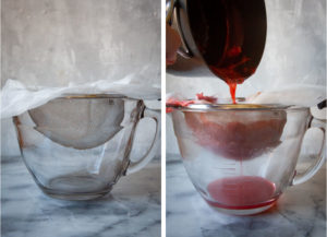 a sieve with a piece of cheesecloth laid in it, and a pot pouring the cooked fruit syrup through the sieve.