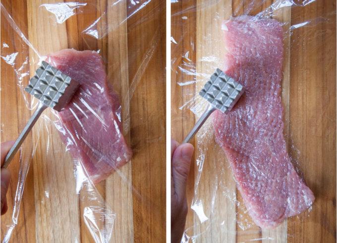 a kitchen mallet flattening a piece of pork tenderloin