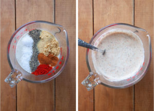 Make the marinade by adding spices to the buttermilk