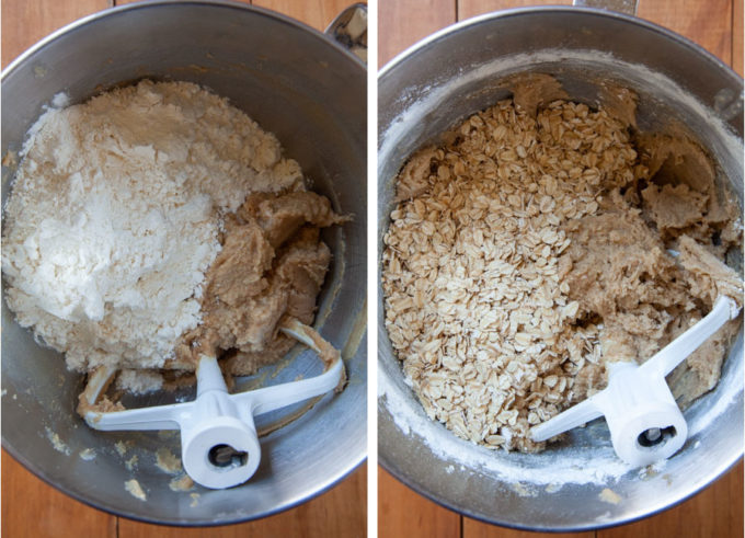 Add the flour, then the oats and mix until absorbed.