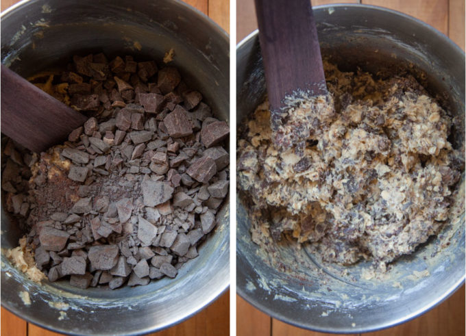 Hand mix in the chopped chocolate.