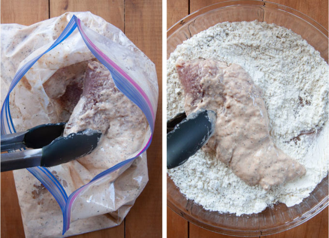 Remove the pork from the bag and coat with flour.