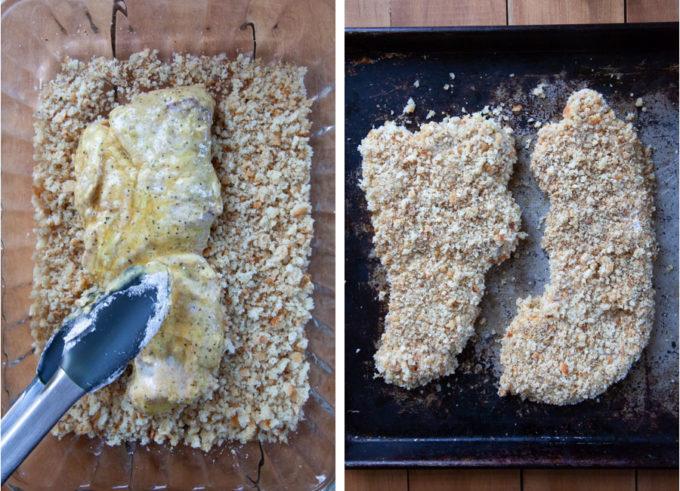 Breading a piece of flattened pork tenderloin in bread crumbs.