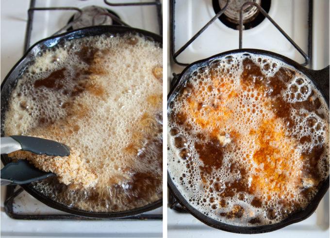 Frying the pork tenderloin on the stovetop in hot oil.