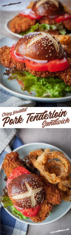 An easy-to-make crispy breaded pork tenderloin sandwich recipe. #recipe #pork #tenderloin #sandwich #midwest #indiana #iowa #buttermilk #sourdoughstarter