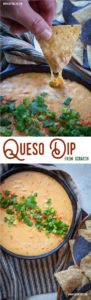 This homemade queso recipe is made from scratch with Cheddar and Colby Jack cheese, along with spices like garlic, onion and cumin to create the best queso! #queso #cheese #dip #mexican #fromscratch #recipe #texmex