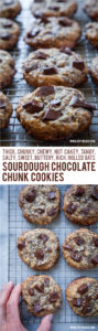 These sourdough chocolate chip cookies use sourdough discard to create a tangy sophisticated cookie that is NOT cakey but chewy, thick and rich. #sourdough #cookie #chocolate #chocolatechip #chocolatechunk #recipe