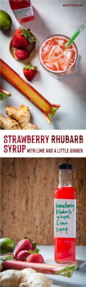 This easy to make Strawberry Rhubarb Syrup is like springtime in a bottle! Use it to make homemade soda or cocktails, or pour it over waffles, pancakes, or ice cream! #recipe #rhubarb #strawberry #syrup #simplesyrup #cocktail #mocktail #soda