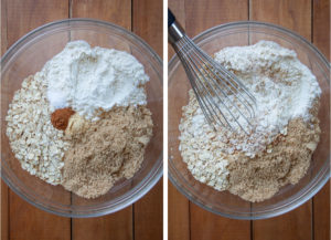 combining flour, sugar, oats and spices in a bowl.