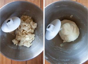 kneading focaccia dough with a dough hook