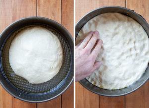 Pressing dough into oiled springform pan.