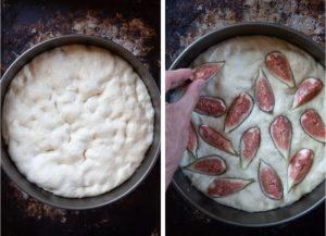 Press the cut figs into dough.