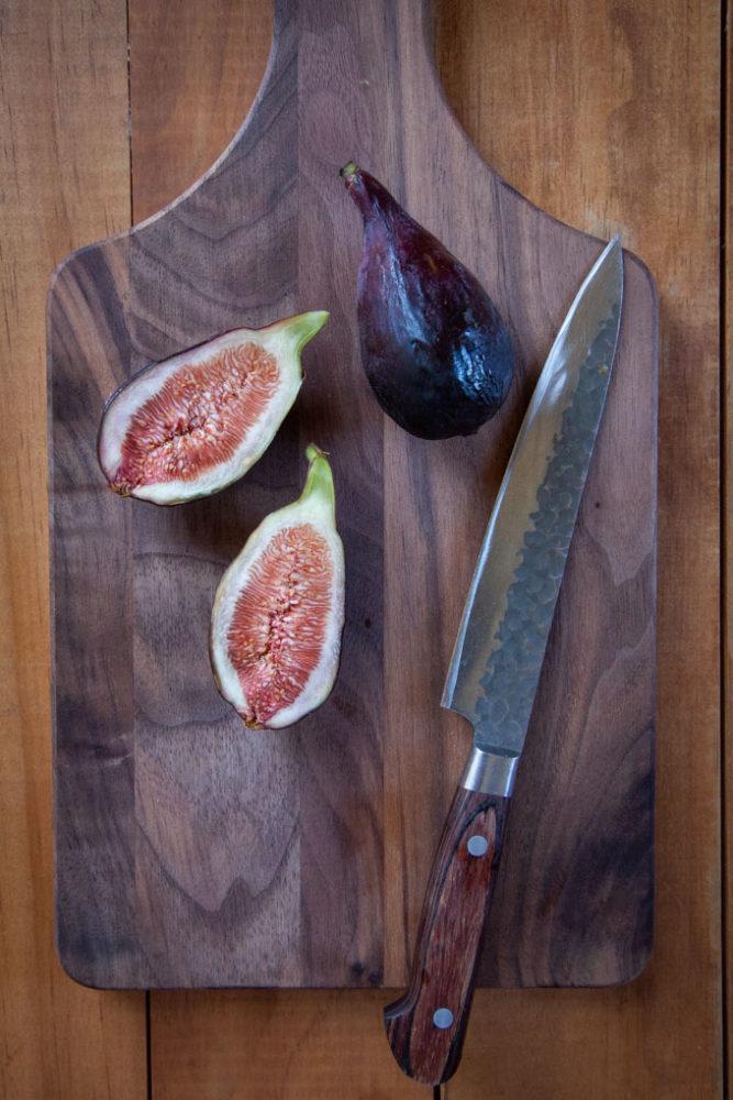 fig cut on a cutting board.