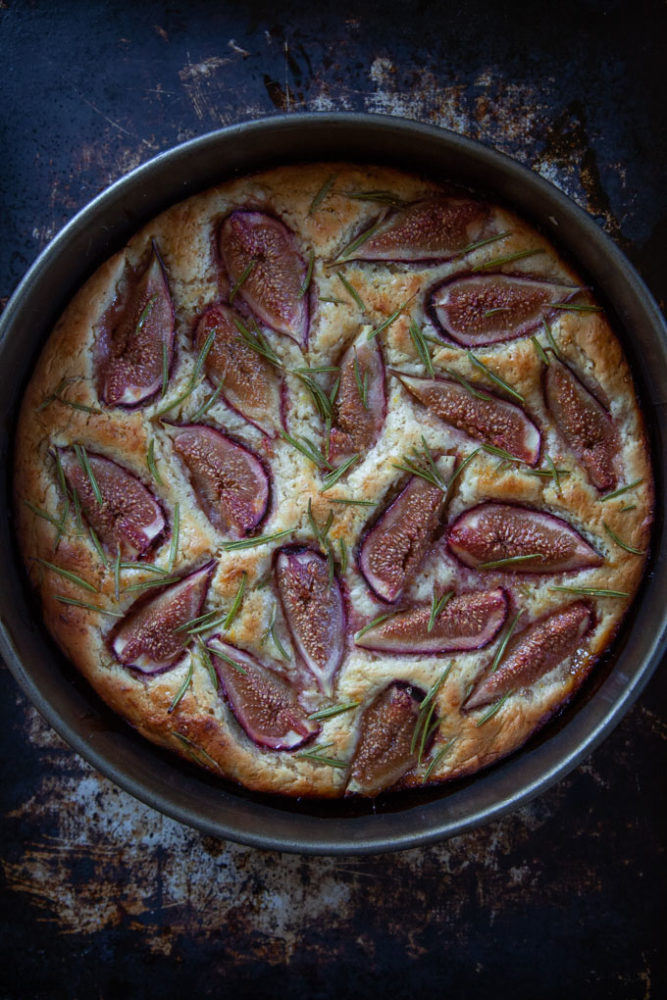 Baked fig focaccia in a springform pan.