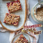 Strawberry oatmeal bars on a plate.