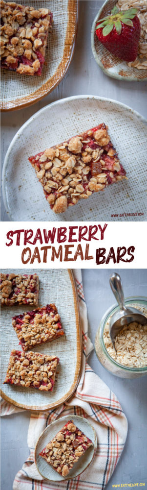 These strawberry oatmeal bars are easy to make and are a great snack or breakfast treat. #strawberry #oats #oatmeal #breakfast #bars #snack #dessert #fruit #summer #recipe