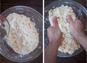 Drizzle water over the dry ingredients and toss to make dough