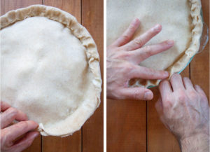 Seal the crust with your fingers then crimp around the edge of the pie.
