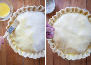 brush top of the pie with egg wash then sprinkle with sugar.