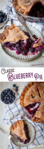 This classic blueberry pie is easy to make and uses fresh blueberries for the most vibrant juicy pie ever! #blueberries #pie #recipe #baking #piecrust #summer