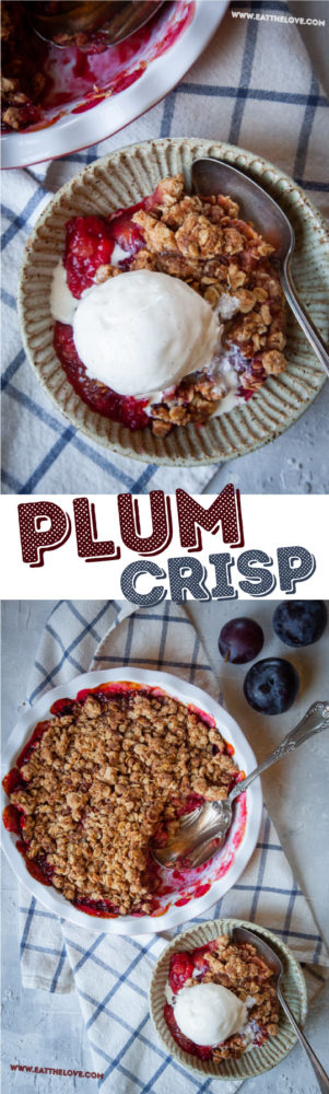 This easy-to-make plum crisp is packed full of juicy plum flavor and topped with crispy and crunchy cinnamon oats. #plums #cinnamon #oats #baking #recipe #rustic