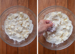 place the flour, salt and butter in a bowl, then smash the butter into small pieces with your hand.