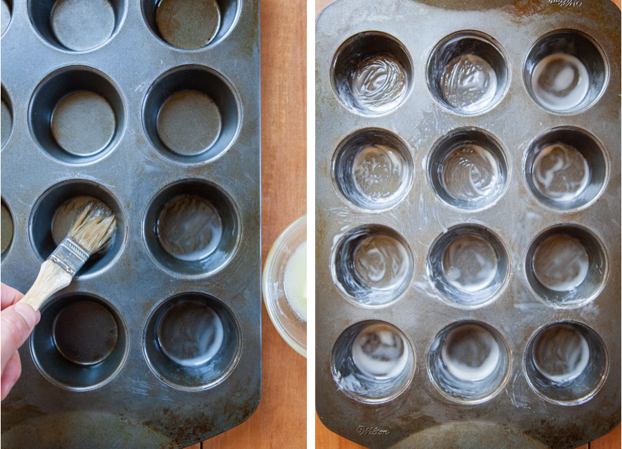 Brush the muffin tin with melted butter, then chill in the fridge.